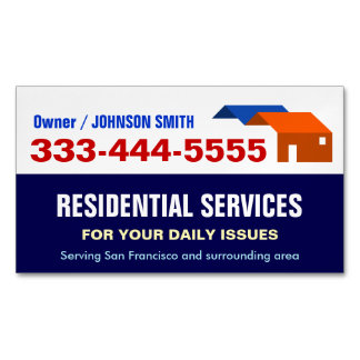 Local Emergency Housing and Residential Services Magnetic Business Cards