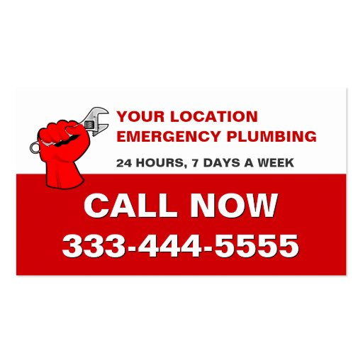 LOCAL EMERGENCY PLUMBERS & PLUMBING SERVICES BUSINESS CARD TEMPLATE