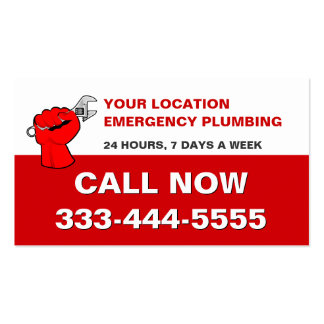 LOCAL EMERGENCY PLUMBERS & PLUMBING SERVICES PACK OF STANDARD BUSINESS CARDS