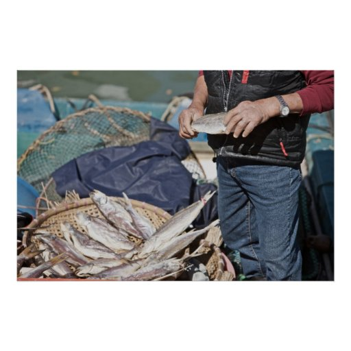Local Fisherman with a Basket of Fish Print