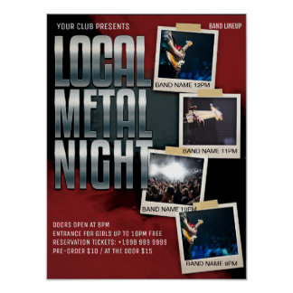 Local Metal Show   Gig   Club   Bar Flyer Poster
