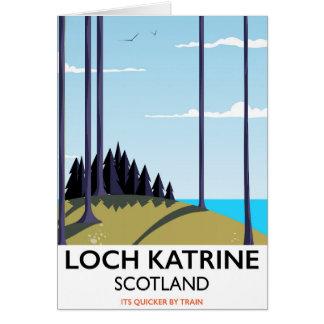 Loch katrine scotland travel poster card