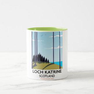 Loch katrine scotland travel poster Two-Tone coffee mug