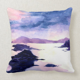 Loch Lomond Purple Watercolour Landscape Cushion