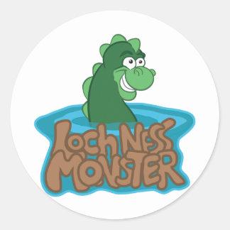 Loch Ness Monster Cartoon Round Sticker