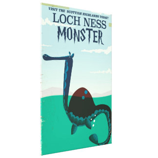 Loch Ness Monster funny travel poster Canvas Print