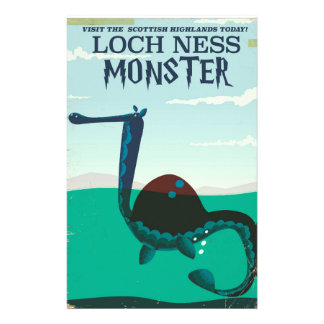 Loch Ness Monster funny travel poster Customized Stationery