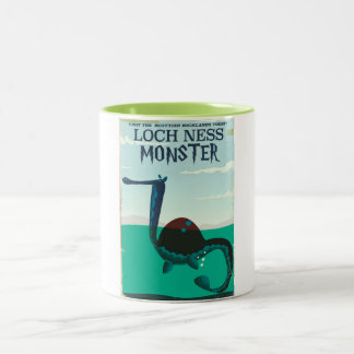 Loch Ness Monster funny travel poster Two-Tone Coffee Mug