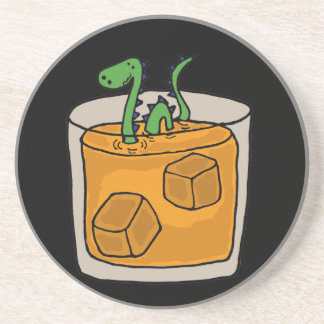 Loch Ness Monster in Scotch Whiskey Glass Coaster