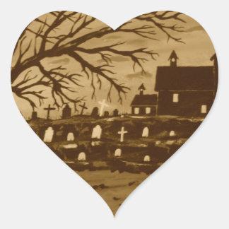 Loch Ness Monster On Halloween Heart Sticker