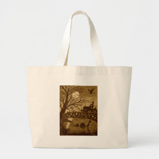 Loch Ness Monster On Halloween Large Tote Bag