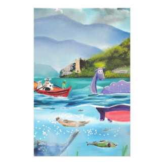 Loch Ness monster underwater painting G BRUCE Stationery Paper