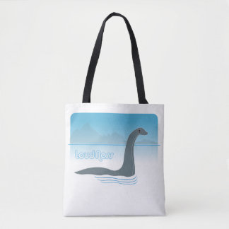 Loch Ness Monster With Headphones Fun Tote Bag