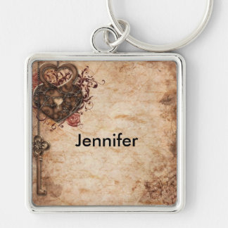 Lock and Key Large Square Keychain