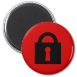 Lock. Top Secret or Confidential Icon. 6 Cm Round Magnet