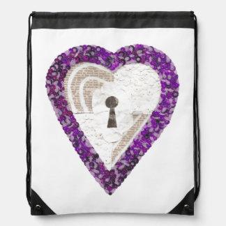 Locker Heart Drawstring Bag