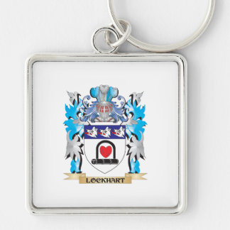 Lockhart Coat of Arms - Family Crest Silver-Colored Square Key Ring