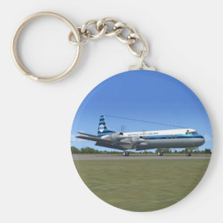 Lockheed Electra Airliner Basic Round Button Key Ring