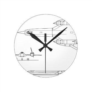 Lockheed_YF-12A_3view Round Clock