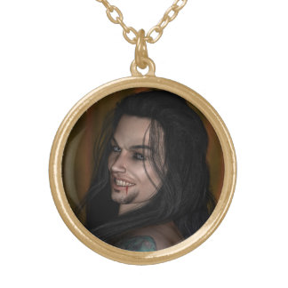 Locky the vampire gold plated necklace