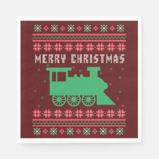 Locomotive Choo-Choo Train Ugly Christmas Sweater Disposable Serviette