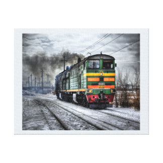 Locomotive In Snow, Digital Coloring, Template Gallery Wrapped Canvas