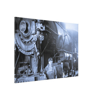 Locomotive Ladies Roundhouse Rosies of World War I Canvas Print