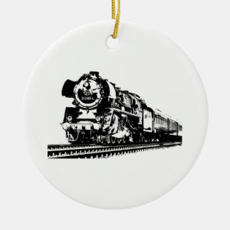 Locomotive Silhouette Ceramic Ornament