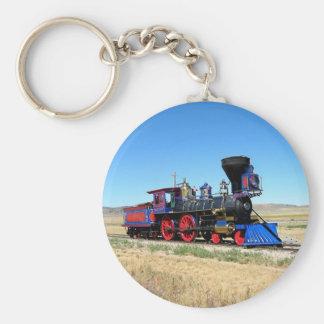 Locomotive Steam Engine Train Photo Basic Round Button Key Ring