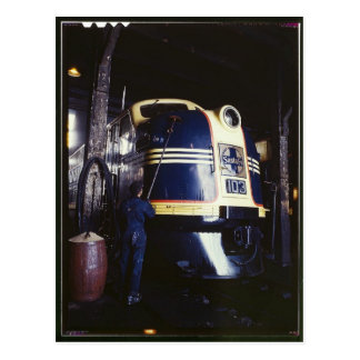 Locomotive washing 1939 post card