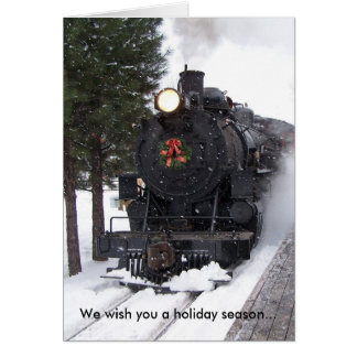 Locomotive Wreath Christmas Card