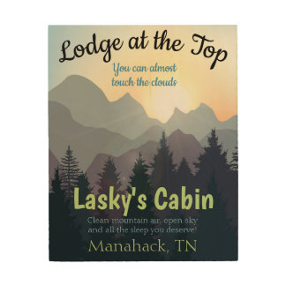 Lodge Cabin Sign Personalized Travel Mountains Sky