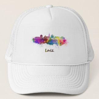 Lodz skyline in watercolor trucker hat