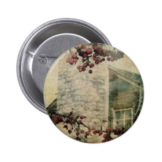 Log Cabin and Berries Grunge Pin