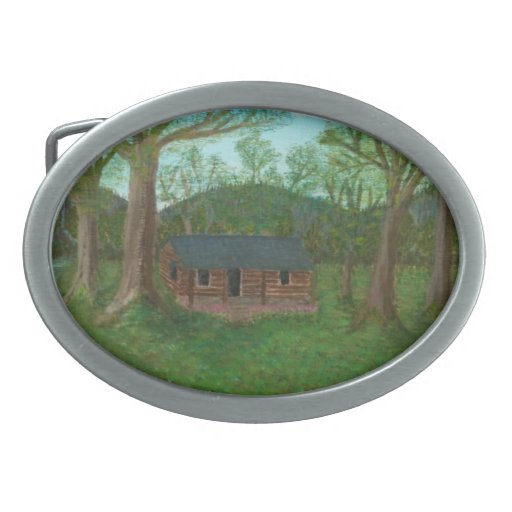 Log Cabin and Trees Oval Belt Buckles