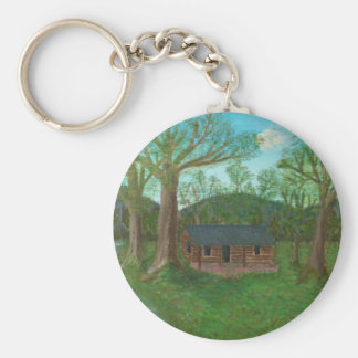 Log Cabin and Trees Key Ring