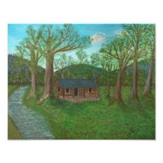 Log Cabin and Trees Photo Print