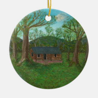 Log Cabin and Trees Round Ceramic Decoration