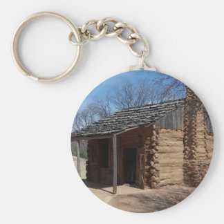Log Cabin Basic Round Button Key Ring