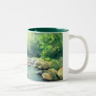 LOG CABIN by SHARON SHARPE Two-Tone Coffee Mug