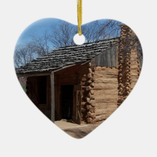 Log Cabin Ceramic Heart Decoration