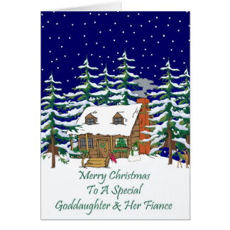 Log Cabin Christmas Goddaughter & Fiance Card