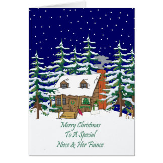 Log Cabin Christmas Niece & Fiance Card