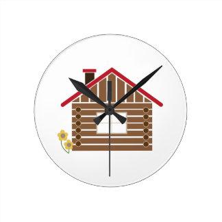 Log Cabin Wallclock