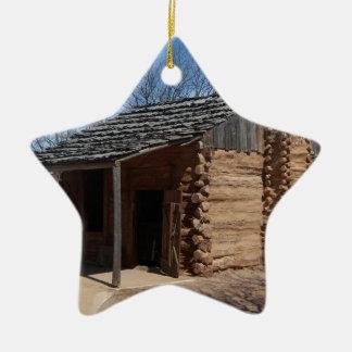 Log Cabin Ceramic Star Decoration