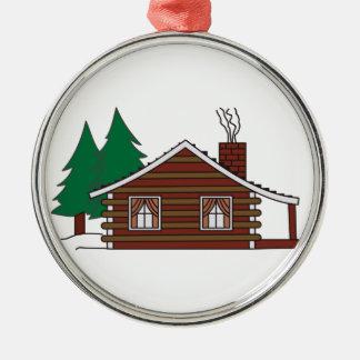 Log Cabin Silver-Colored Round Decoration
