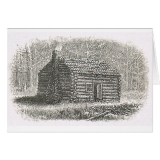log cabin engraving notecard greeting card