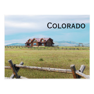 log cabin in Colorado Postcard