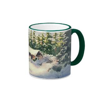 LOG CABIN in SNOW by SHARON SHARPE Ringer Coffee Mug