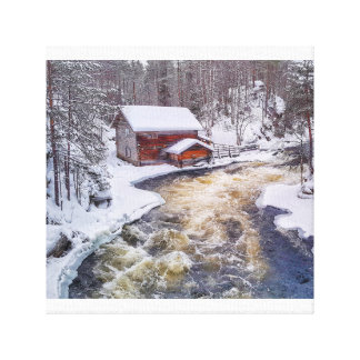 Log Cabin in the Snow - Finnish Lapland Canvas Print